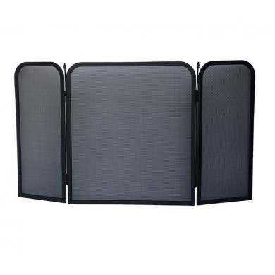 Черен протектор за камина от 3 части