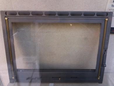 Вратичка за камина от масивен чугун с огнеупорно стъкло - Япоснка стъкло-керамика и рамка от стомана