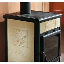 ROSSELLA R1 - Wood burning stove with majolica or natural stone covering made by La Nordica Italy