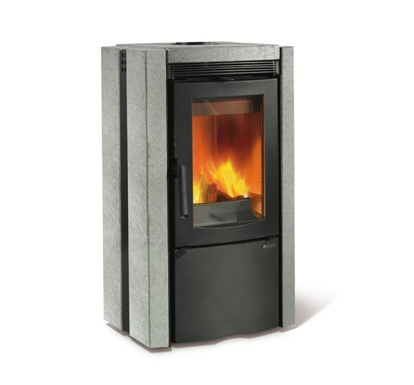 ESTER - Wood burning stove with natural stone covering made by La Nordica Italy