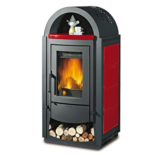 SVEZIA NEW - Wood burning stove with wood box and warming dish compartment made by La Nordica Italy