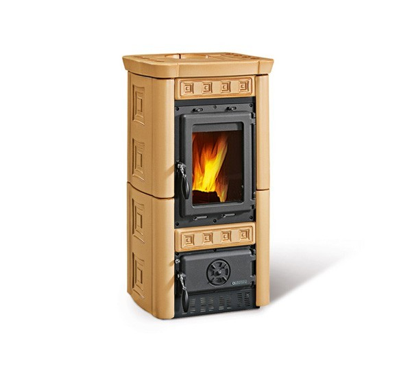 GAIA - Wood burning stove with majolica covering made by La Nordica Italy