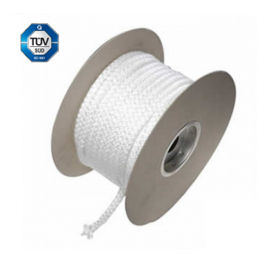 Огнеупорно бяло въже за уплътнение на вратички за камини, печки и котли и други от Ø 6 - Ø 22 мм