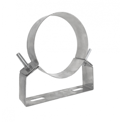Подсилени скоби от неръждаема стомана за захващане на димоотводни или вентилационни тръби към стена