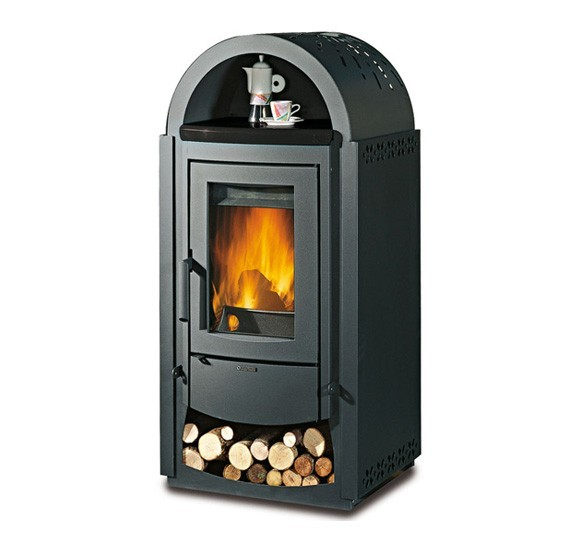 Norvegia - Wood burning stove with wood box and warming dish compartment made by La Nordica Italy