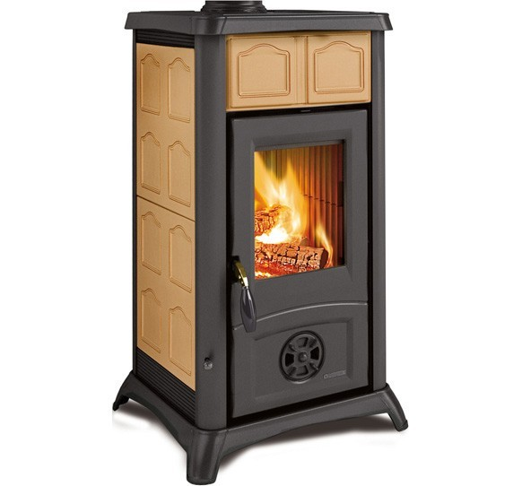 GEMMA - Wood burning stove with majolica or natural stone coveringmade by La Nordica Italy